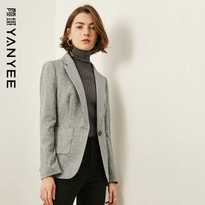 颜域女装优雅职业小西装女秋装2020新款修身气质西服羊毛呢外套