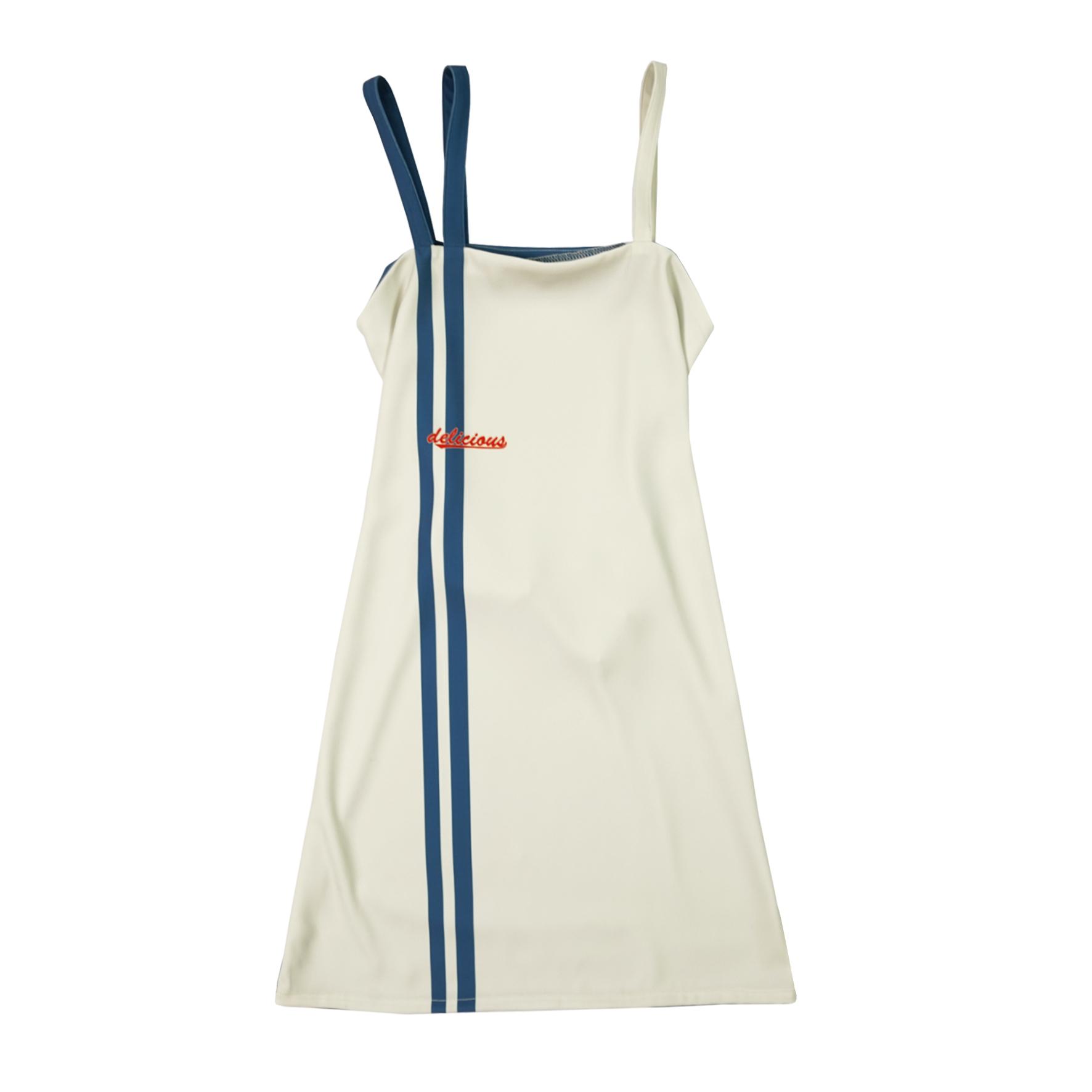 伴个子爵/WXC设计delicious经典条纹双吊带连衣裙刷街复古单品