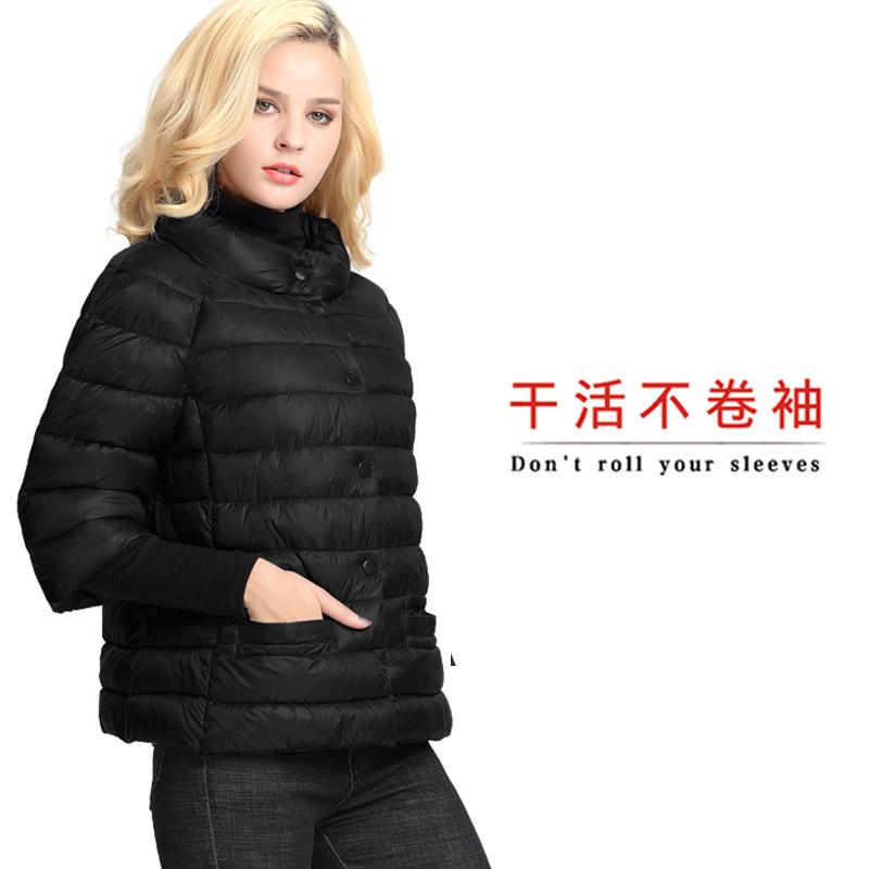 2021春新款棉衣女短款棉袄棉服中老年大码短袖半袖七分袖中袖外套