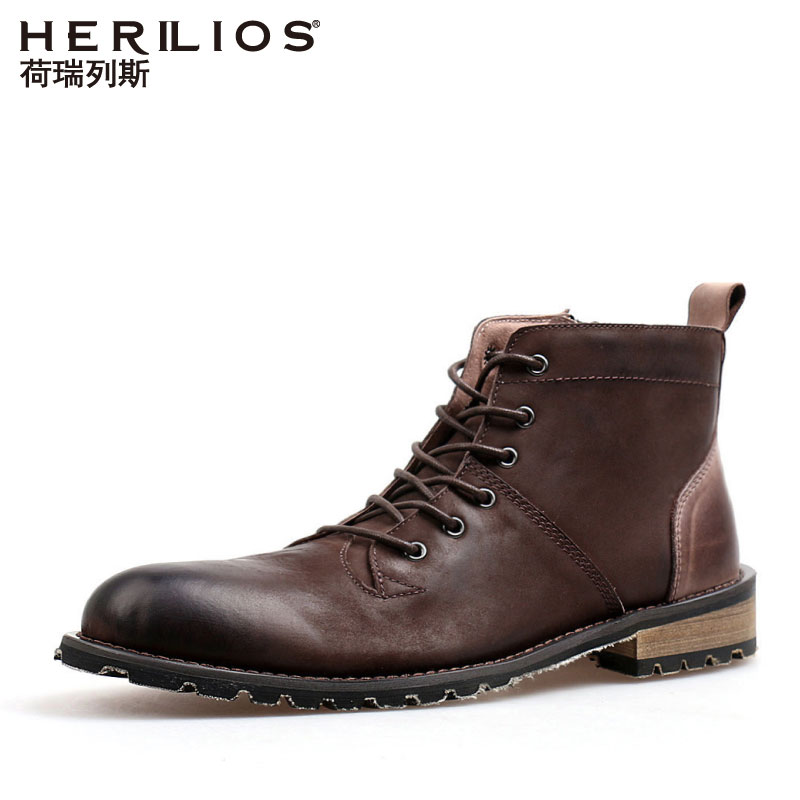 Holerith Martin boots men's British mid-range retro leisure high top shoes trend spring tooling army boots