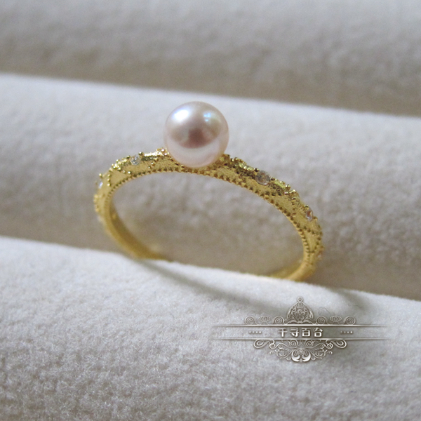 Rococo aestheticism 4-5mm natural pearl ring 925 silver plated gold ring