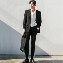 一套西装男套装休闲帅气修身宽松韩版英伦风潮流外套新郎西服学生
