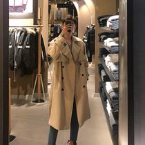 大衣外套秋季风衣男士中长款帅气过膝韩版潮流英伦风卡其色很仙