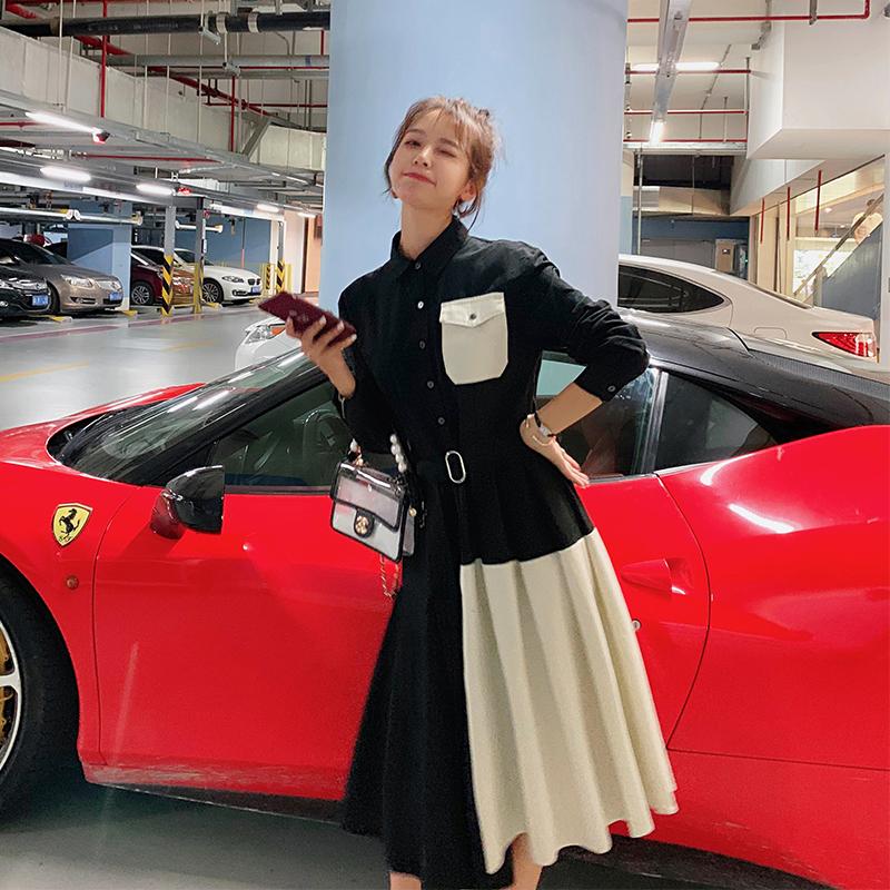 秋装2019年新款连衣裙收腰潮百褶裙11月12日最新优惠