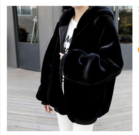 Winter Korean loose imitation fur coat womens hooded thickened solid color jacket quality leisure commuter three-dimensional top