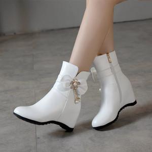 短靴女2019甜美大小码女鞋子秋冬新款韩版内增高中跟蝴蝶结马丁靴