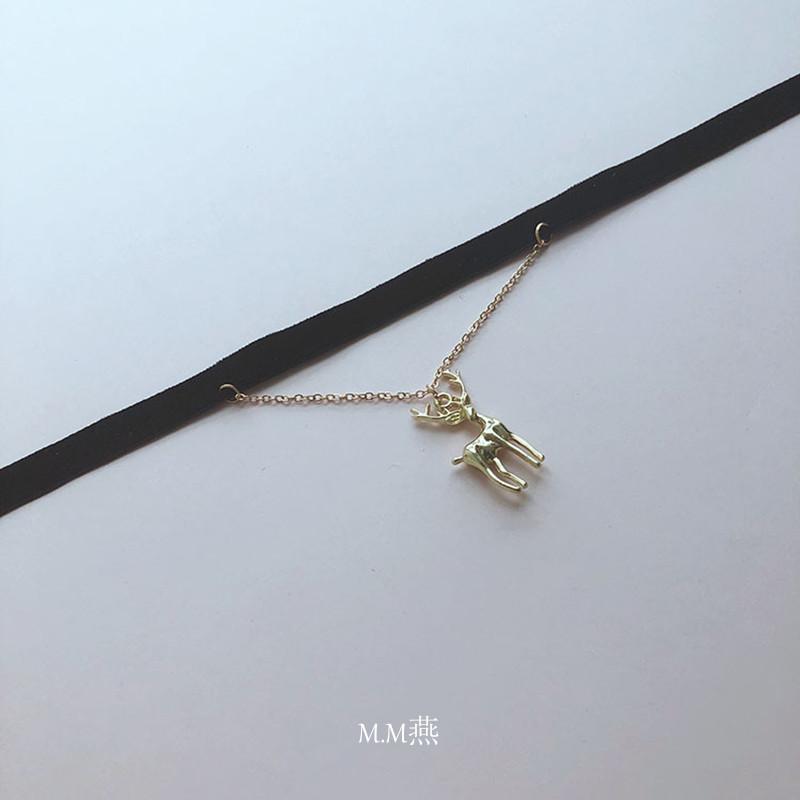 Neckband collar new velvet neckband fawn pendant Gothic Punk temperament personality Korean clavicle chain item
