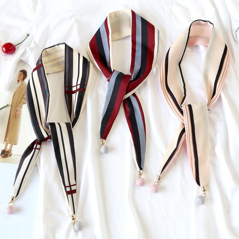 女士丝巾夏季纱巾韩国小领巾细窄长条飘带chic小方巾衬衫装饰丝带