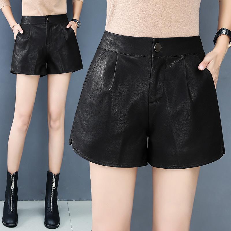 皮裤女2020秋冬新款宽松阔腿短裤高腰显瘦黑色PU皮短裤女靴裤外穿