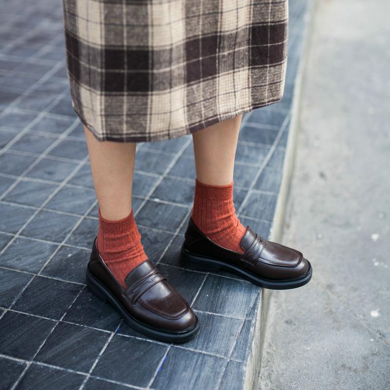 喵唔的天空乐福鞋女2020春季新款英伦风真皮小皮鞋女单鞋厚底鞋子