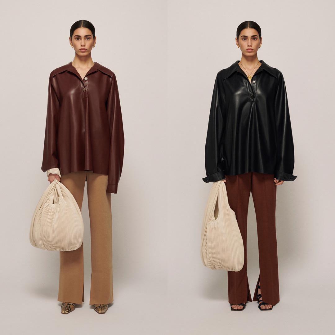 Polo leather shirt Nanu plain polo collar leather top lazy wind drop shoulder sleeve loose base shirt