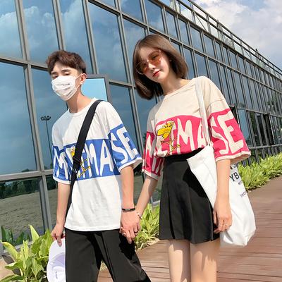 情侣装夏装2018新款字母印花短袖T恤卡通韩版宽松气质ins上衣女