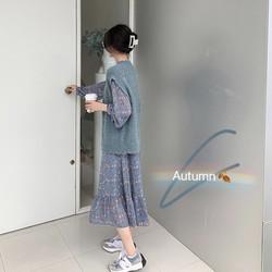 中长款碎花裙女秋季2020年新款韩版收腰长袖鱼尾连衣裙马甲两件套