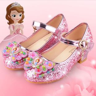 小孩子时尚 儿童高跟鞋 春秋公主鞋 中大童鞋 女童单皮鞋 闪亮片水晶鞋