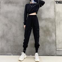 黑色超火工装裤女2021春秋新款显瘦高腰直筒束脚休闲裤裤子女夏