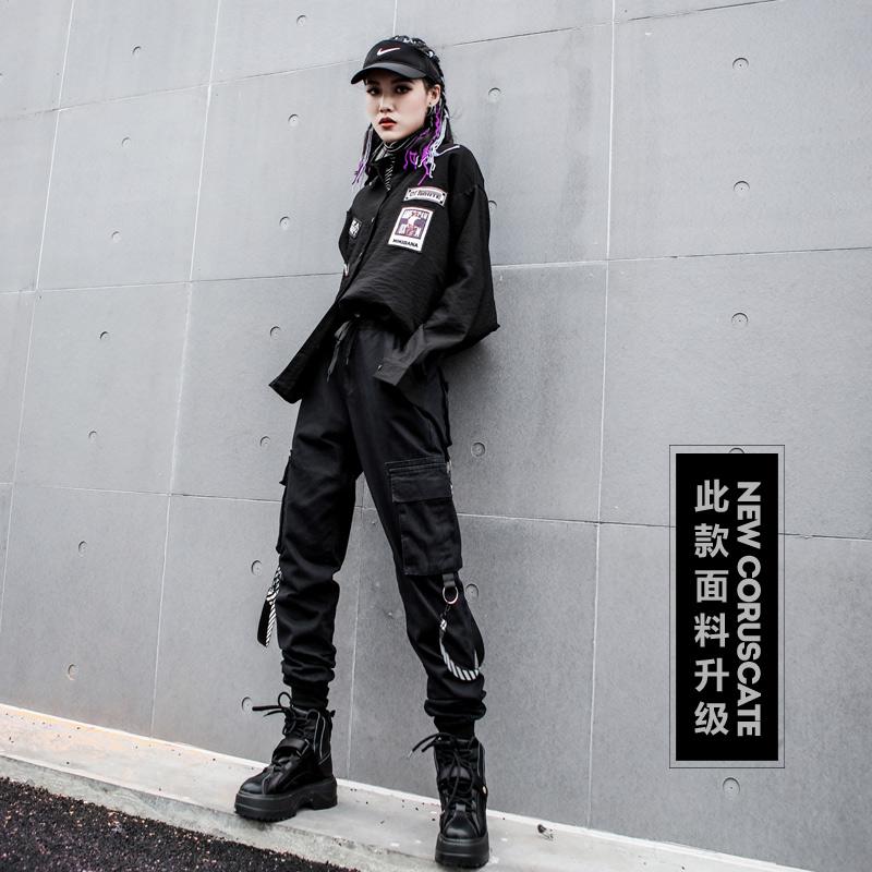 工装裤女2019秋季帅气嘻哈潮ins宽松bf显瘦高腰束脚hiphop裤子