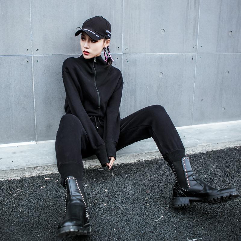 2019新款春秋潮牌休闲裤个性hiphop嘻哈街头原宿收腰显瘦连体长裤(非品牌)