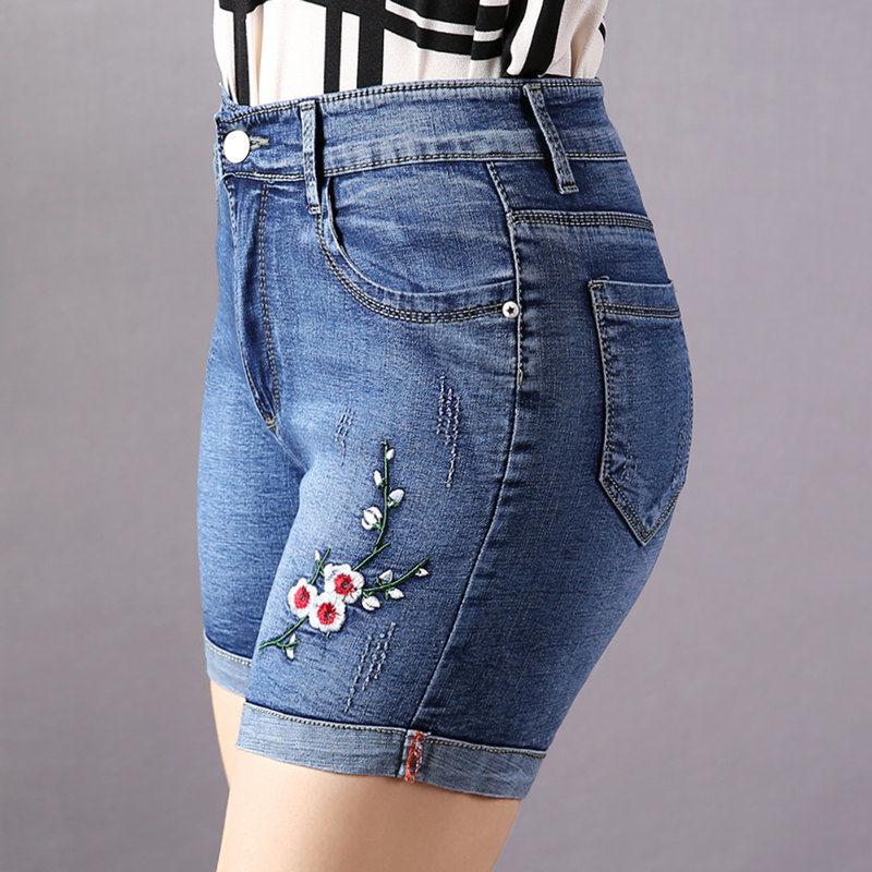 刺绣花高弹力牛仔夏季卷边高腰短裤