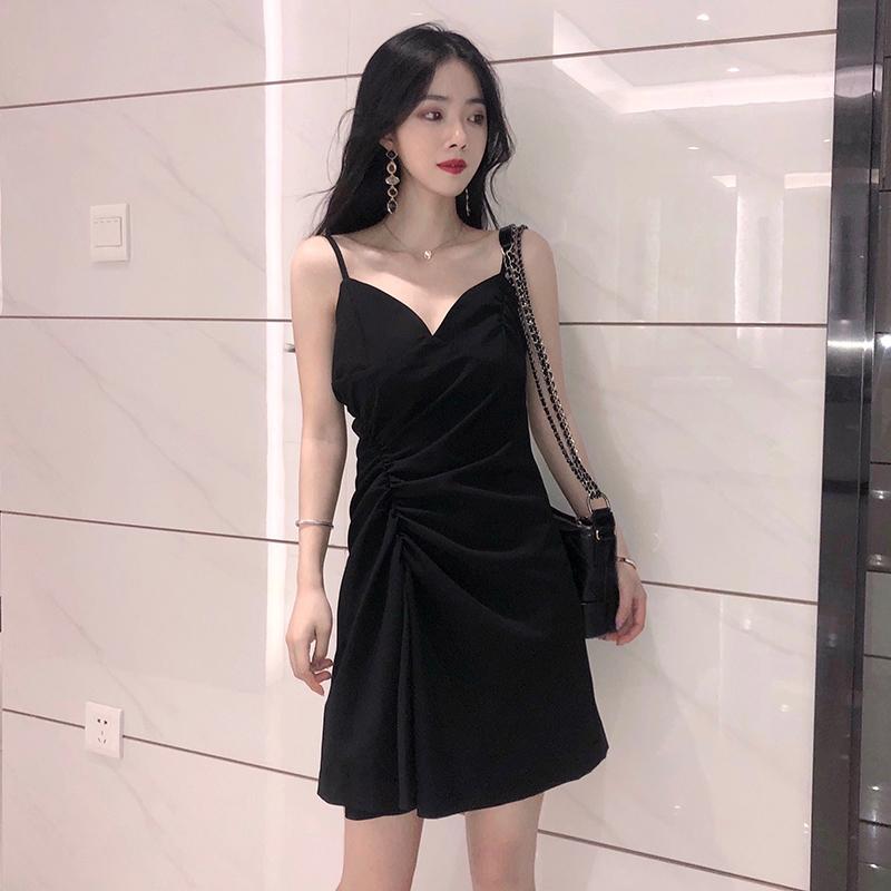 包邮赫本小黑裙2019夏季新款复古连衣裙