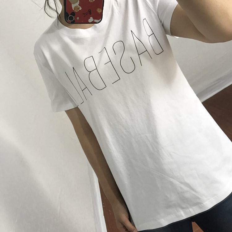 水淼大码女装2018年夏简约字母修身显瘦纯棉短袖T恤新品热卖促销