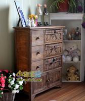 查看田园复古做旧实木床头柜藤编抽屉式收纳储物柜小柜子简易卧室边柜价格