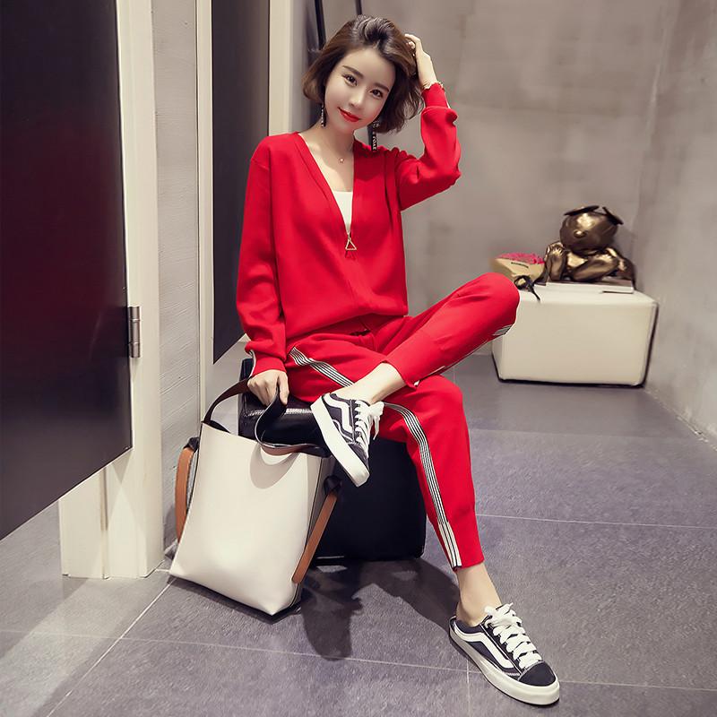 时髦开衬长袖外套+条纹小脚哈伦裤套装韩版休闲气质百搭两件套潮