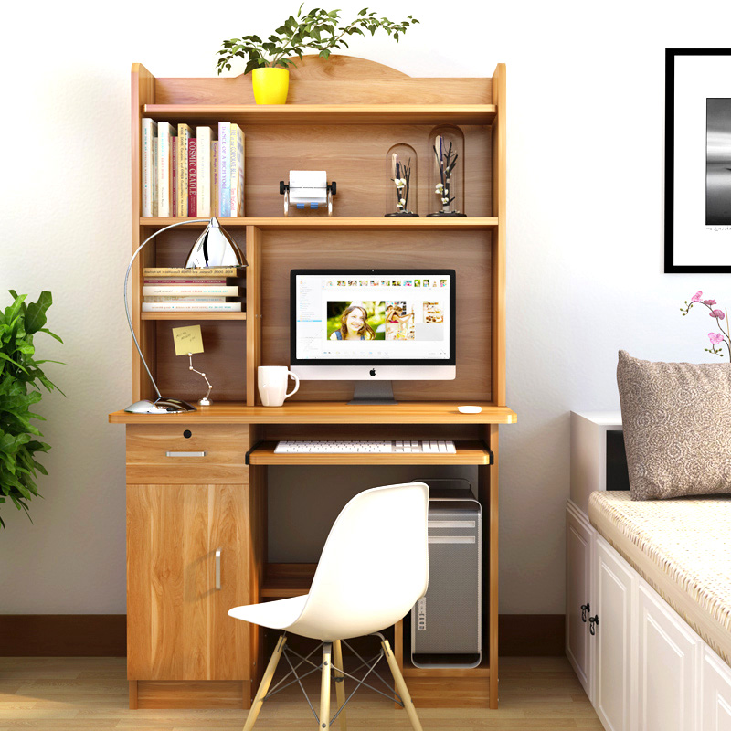 台式电脑桌1米家用书桌书柜一体1.2米学生写字桌110cm卧室学习桌