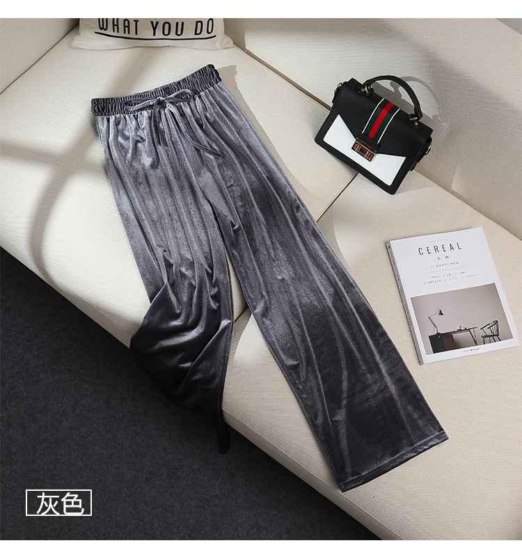 French skirt and ankle retro super long pants straight tube new high waist versatile loose student casual pants
