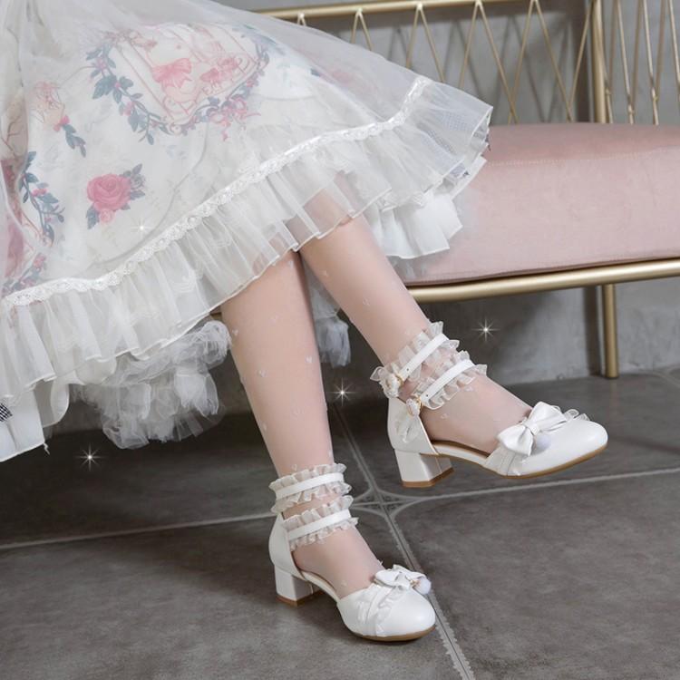 2021夏季粗跟中跟洛丽塔包头中空凉鞋女鞋蕾丝边角色扮演学生鞋
