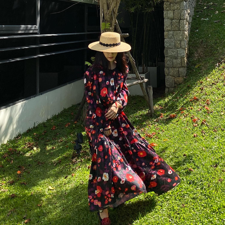 iuiu阿晶 红紫色收腰碎花裙子超仙森系春装2020款女中长款连衣裙