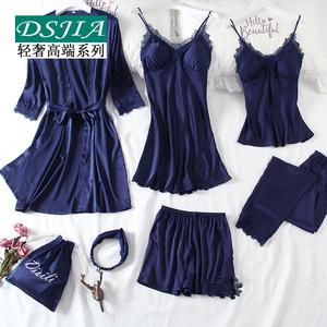睡衣女夏性感冰丝绸吊带情趣睡裙带胸垫真丝薄款睡袍春秋七件套装