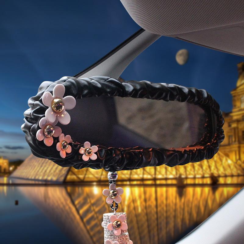 普晶韓國車飾小雛菊花朵手刹套排擋套安全帶護肩後視鏡套套飾套裝