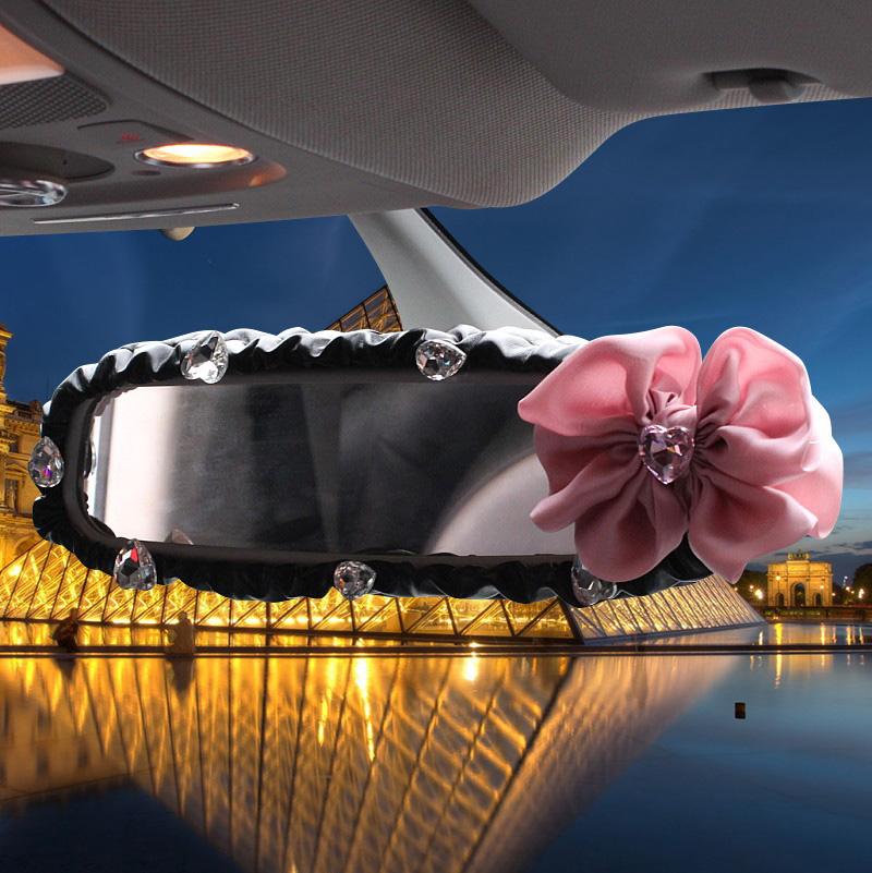 普晶韓國車飾 蝶戀花手刹套排擋套安全帶護肩後視鏡套套飾套裝