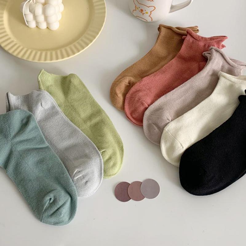 袜子女夏季船袜薄款网眼透气短袜纯棉防臭不掉跟纯色百搭女袜卷边
