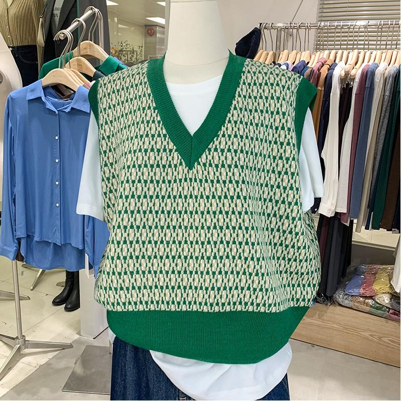 Collar pattern Pullover vest loose waistcoat Vintage top autumn sleeveless V sweater womens Hong Kong flavor 2021