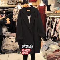 2020年新款毛呢外套女茧型中长款小个子宽松大码胖mm黑色呢子大衣
