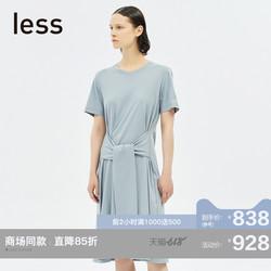 【商场同款】less2019夏季新款简约气质腰带拼接连衣裙295500040