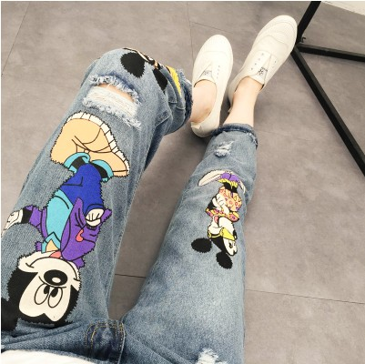 2020 spring and autumn Korean womens new Mickey hole large print jeans Mickey Mouse loose Capris fashion