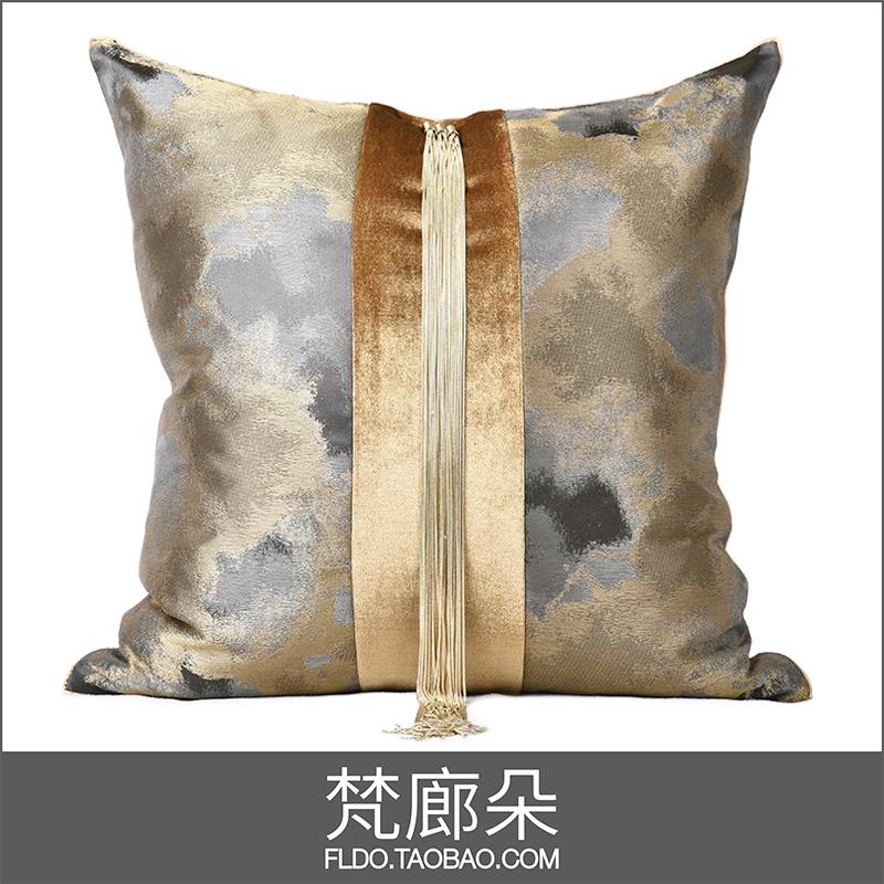 梵廊朵样板房家居软装抱枕靠包现代简约轻奢大都会新中式流苏热卖