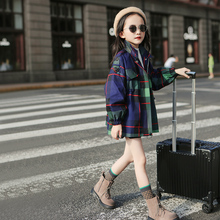 Girls' foreign style Plaid windbreaker spring clothing 2020 new Korean children's and girls' spring and autumn net infrared trend