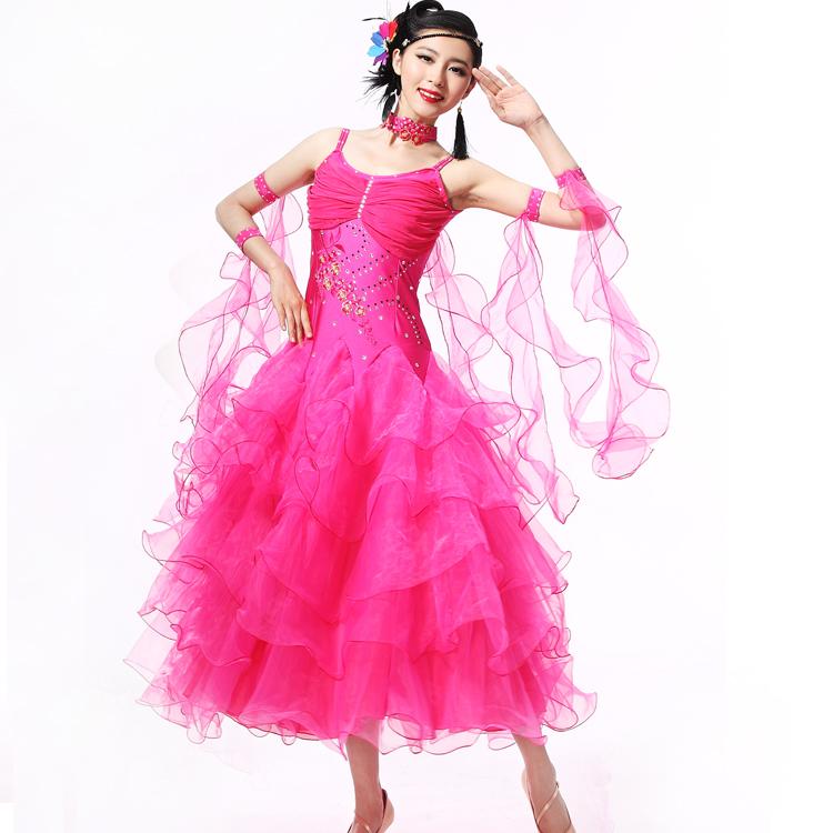 新款吊带奢华镶钻摩登舞裙演出服国标舞裙比赛连衣裙华尔兹舞裙