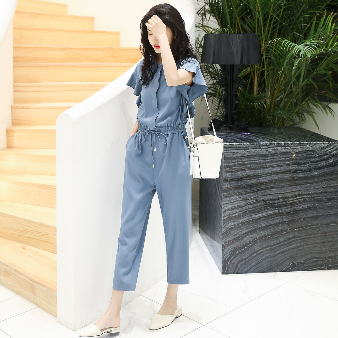 Chiffon fashion bodysuit womens spring and summer new Korean version high waist thin short sleeve work clothes pants fashion bodysuit pants