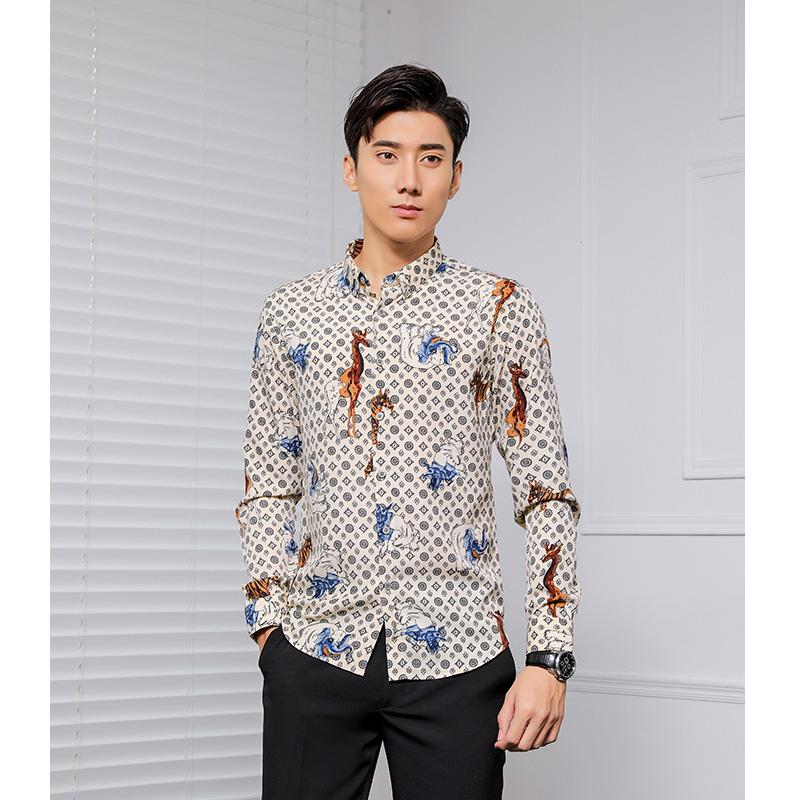Retro animal pattern printed shirt long sleeve literature and art fashion slim fit Korean night no iron fashion mens shirt