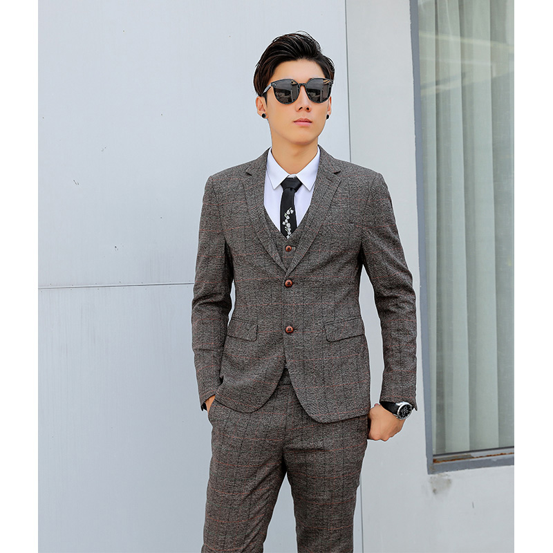 English gentlemans Retro Plaid suit three piece suit mens suit casual slim mens fashion