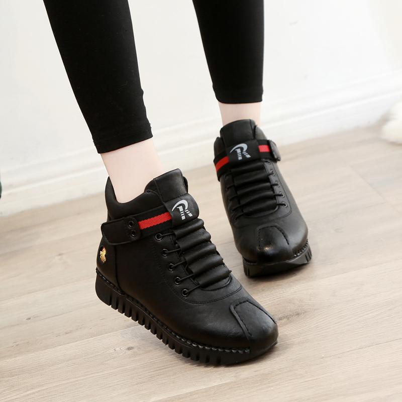 棉鞋女冬季保暖加绒2019新款高帮鞋女运动休闲软底学生雪地鞋短靴
