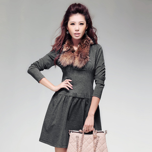 Fertile valley Autumn new simple bow decoration women s skirts solid color base skirt knit dress