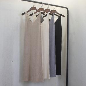 秋冬新款打底毛衣V领无袖针织吊带背心连衣裙女孕妇过膝内搭长裙