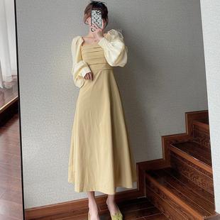 小眾ins風腳踝連衣裙子長袖長裙女秋季炸街收腰茶歇氣質法式顯瘦