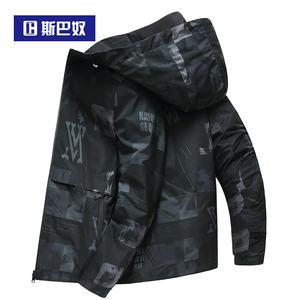 斯巴奴男装2019春秋季双面穿夹克衫男短款上衣青年迷彩休闲外套潮
