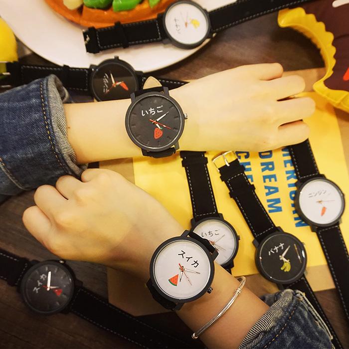 韩国可爱卡通水果腕表闺蜜学生潮流黑白原宿日系百搭休闲皮革手表